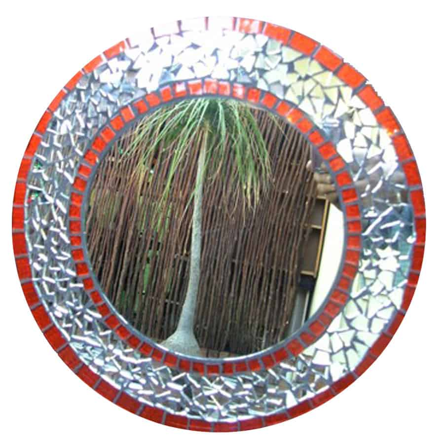 mosaic Mirror mosaic with Orange Border 300mm